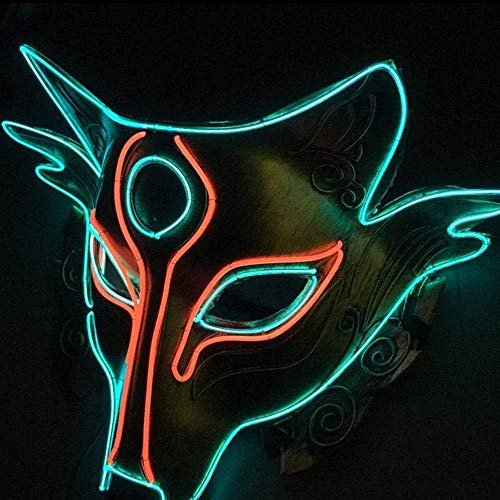 Mask Glowing Fox Masken LED Kaltlichtmaske Böse Gesichtsmaske Street Dance Handgemalte Cosplay Kostüm Dekoration Ostern Grimasse Festival ()