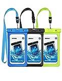 Mpow 3 Pack Pochettes Etanches Téléphone, Etui/Housse/Coque Téléphone Portable Etanche Universel (6.5'') Certifiée IPX8 Profondeur de 10m pour iPhone X/8/7,Galaxy S10/S9/S8/S7, Mate 20/P30/P20