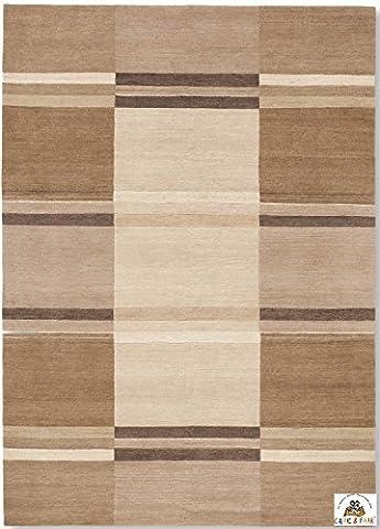 SANTA PIAZZA un tapis noué main du Népal laine beige Taille: 90x160 cm
