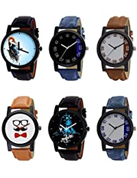 NIKOLA New Love Mahadev Beard Style Black Blue And Brown Color 6 Watch Combo (B22-B37-B39-B53-B23-B40) For Boys...