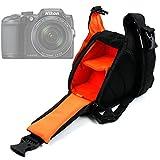 Petit sac à dos triangle pour appareils photo Panasonic Lumix GF8 et DMC-FZ300, Nikon Coolpix B500 et B700 Bridge, Pentax K-1 SLR – modulable en nylon noir et orange, par DURAGADGET