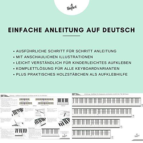 Klavier + Keyboard Noten-Aufkleber für 49 | 61 | 76 | 88 Tasten + Gratis Ebook | Premium Piano Sticker Komplettsatz für schwarze + weisse Tasten | C-D-E-F-G-A-H | einfache Anleitung auf Deutsch - 5