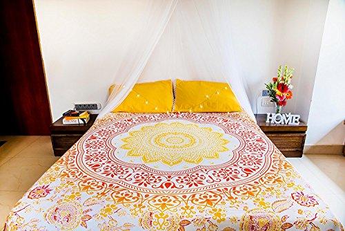 Folkulture Sunflower Tapisserie Mandala Bettwäsche mit Kissenbezügen, indisches Bohemian Wandbehang, Picknickdecke oder Hippie Strand Überwurf Ombre-Tagesdecke für Schlafzimmer, Queen-Size, Gelb -
