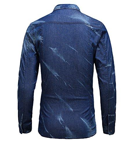 icegrey Uomo Casual Manica lunga Button Down Denim Camicie Acid Blue