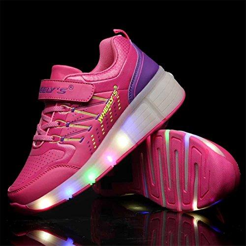 Unisex Schuhe Mit Rollen Skateboard Kinder Mädchen Jungen Led Leuchtet Sohle Leuchtend Sport Turnschuhe ohne USB Es gibt ein Rad Rosa