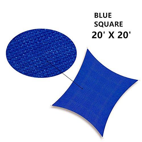 Soclear - 20 Ft. X 20 Ft. (6m X 6m) Bleu - Voile d'ombrage Carré - Perméable à l'eau - Durable - Protection Solaire et Anti UV