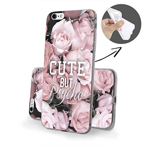 finoo | iPhone 8 Plus Weiche flexible Silikon-Handy-Hülle | Transparente TPU Cover Schale mit Motiv | Tasche Case Etui mit Ultra Slim Rundum-schutz | Cute but psycho Cute but psycho