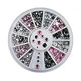 Joyeee 3D Pedrería para Uñas Decoración de Arte de Uñas Rueda de Diamantes Brillantes(3 colores)