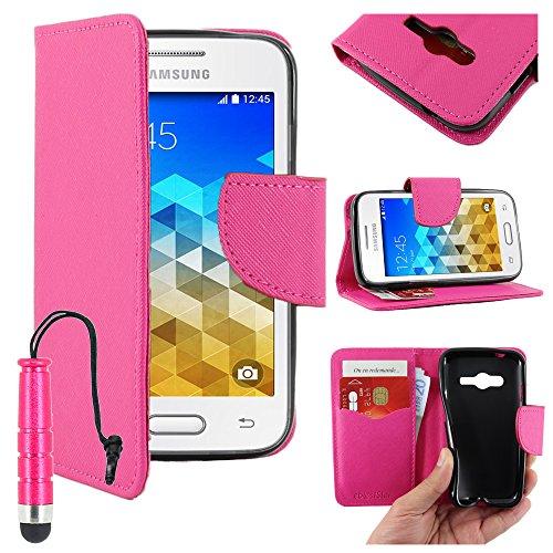 ebestStar - Compatibile Cover Samsung Galaxy Trend 2 Lite SM-G318H, Galaxy V Plus Custodia Portafoglio Pelle PU Protezione Libro Flip + Mini Penna, Rosa [Apparecchio: 121.4 x 62.9 x 10.7mm, 4.0'']