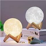 J Group Robotics 3D Moon Lamp India/Moon Shaped Lamp/Led Moon Lamp/Lunar Moonlight Lamp - Multi Color (10Cm)