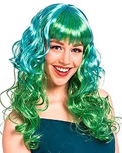Folat Peluca lockig Verde Turquesa Carnaval Halloween fastnacht