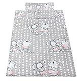 TupTam Kinderbettwäsche Set Baumwolle 2 teilig, Farbe: Bär und Kaninchen / Grau, Größe: 135x100 cm