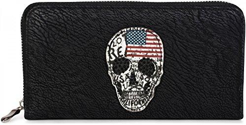 styleBREAKER Geldbörse mit Totenkopf im USA Design, schwarzem Strass, umlaufender Reißverschluss, Portemonnaie, Damen 02040052, Farbe:Schwarz (Portemonnaie Strukturiertes Fach)