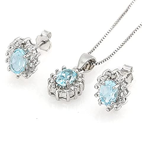 Sterling Silver 925 Swiss Sky Blue Topaz Stud Earrings and Pendant Jewellery Sets for Women Ladies Gifts