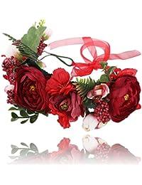 AWAYTR mujeres niñas Boho flor corona diadema floral corona guirnalda (Roja + roja oscura)