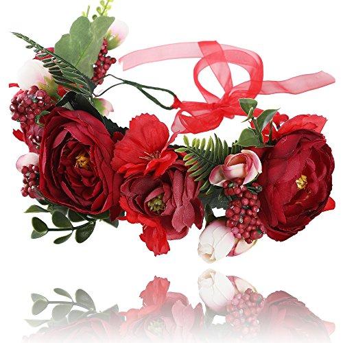 AWAYTR Blumen Stirnband Hochzeit Haarkranz Krone - Frauen Mädchen Blumenkranz Haare für Hochzeit Party(Rot + Dunkelrot) -