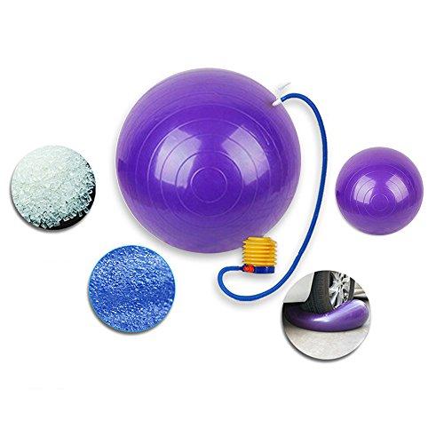 OFT 55cm Gymnastik Ball Yoga Fitnessballl Aerobic Übungsball Massageball inklusive Fuß Pumpe Für Sport Maximales 100 kg (lila + Fußpumpe)