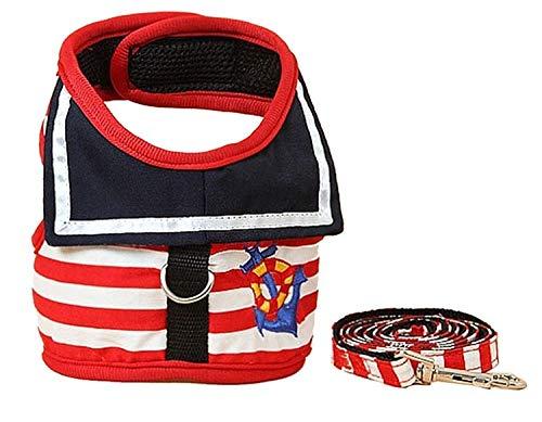 Sruma - New Dog Chest Kleidung Navy Westen Leine Pothook Knopf Hundegeschirr Weste im Freien gehende Haustier-Blei [Red ()