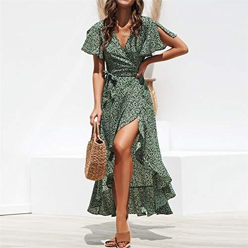 XGDLYQ Langes Chiffon Kleid Sommer Stil Blumendruck Maxi Strandkleid Side Split Elegantes Kleid Sommerkleid S Grün - Maxi Split Side
