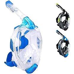 Khroom Masque intégral CO2 Safe Snorkel Mask 2019 - Masque de plongée Seaview X pour Adultes et Enfants. (S/M, Bleu Clair)