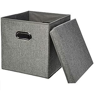AmazonBasics Foldable Burlap Storage Cubes (2-Pack)