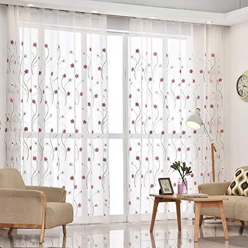 Skygc tende di tulle, tende bianche ricamate in lino rosa, utilizzate per il balcone della parete della camera da letto del soggiorno, 100 * 270cm, 2 pezzi.