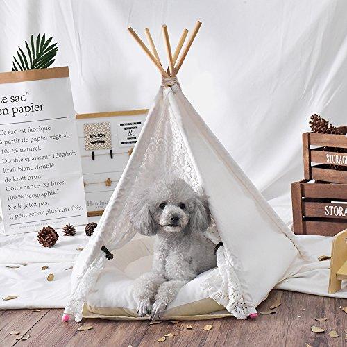 Articoli per animali domestici cuccia per cani casa giocattolo tenda per animali lettino per gatti con cuscinotto spesso bianco--24inch