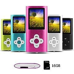 Idea Regalo - Btopllc Lettore MP3,Lettori audio portatili senza perdita di dati da 16G,Lettore MP4, Lettore multimediale compatto e video portatile, Supporto per musica, Video, Ebook, Immagine -rosa+bianco