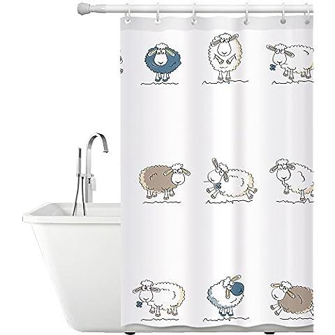 Tatkraft Funny Sheep Cortina Ducha Tela 180X180 cm Poliéster Impermeable con 12 Anillos