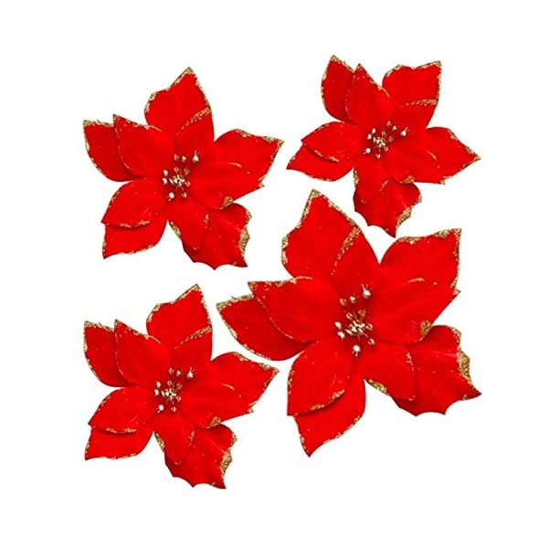 XYJIE 12Pcs Glitter Artificial Boda Flores de Navidad Glins Poinsettia Adornos para árboles de Navidad Dia 5.3 Pulgadas…