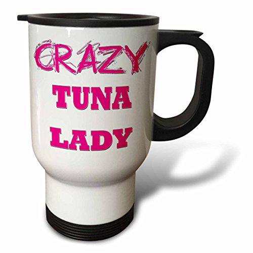 3dRose Crazy Thunfisch Lady-Travel Tasse, 14oz, Edelstahl, Mehrfarbig, 8,57x 11.83X 15,24cm