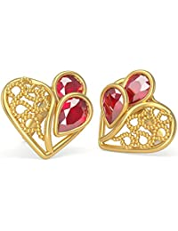 Joyalukkas 22KT Yellow Gold and Ruby Stud Earrings for Girls