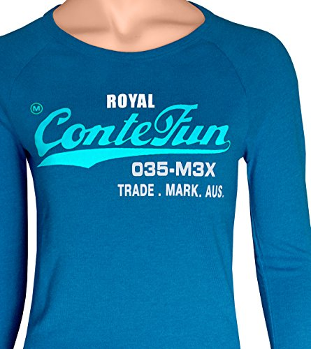 M.Conte Damen T-Shirt Kurzarm T Sweat-Shirt Neon-Pink Lila Grau Blau Rose Rot Grün Schwarz Marine Blau S M L XL Farbe Romana Azur Royal Blau