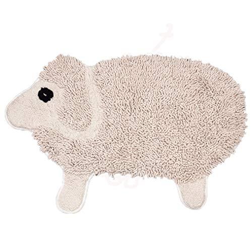 LMXJB Ovale Shag Chenille-Teppichmatte Mit Nettes Karikaturlamm, Das Design Modelliert Bequeme Weiche Kinder-Bad-Wolldecke Nicht Rutschfest Wasseraufnahme Decke Werfen Teppiche Mat 60X90Cm,Beige -