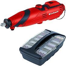 Einhell TH-MG 135 E - Mini taladro (kit de accesorios de 189 piezas, maletín, eje flexible, 135 W) color rojo