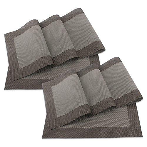 sueh-design-set-8-pezzi-tovaglietta-45-30-cm-plastica-marrone