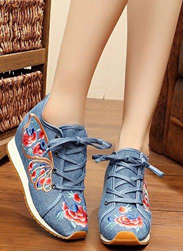Icegrey Femmes Chaussure à Lacets à Cale à Motif Brodé à La Main Bleu