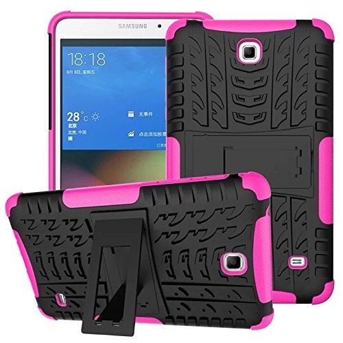 XITODA Hülle für Samsung Galaxy Tab 4 7.0, Hybrid TPU Silikon & Schwer PC Cover Schutzhülle für Samsung Galaxy Tab 4 7.0 SM-T230/T231/T235 Tablet Case Hülle mit Kickstand/Stand - Hot Pink