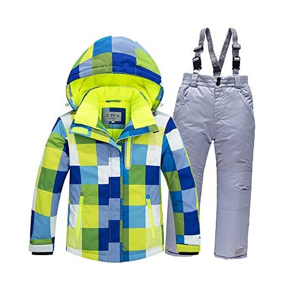 LSERVER-Traje de Esquí Impermeable para Niños y Niñas Ropa de Invierno de Cuadros Chaqueta + Mono 2 Piezas 1