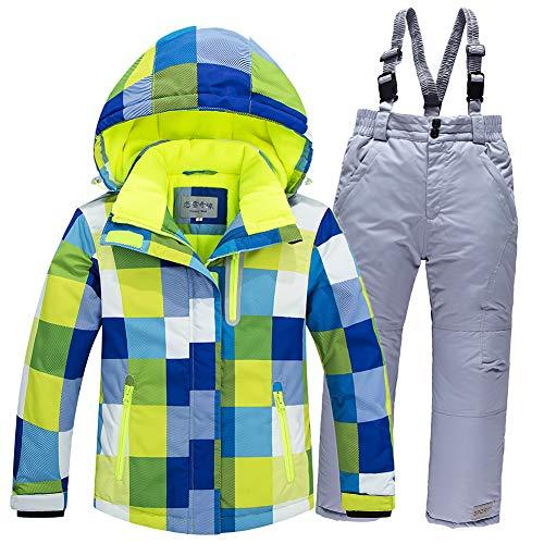 LPATTERN Kinder Jungen/Mädchen Skifahren 2 Teilig Schneeanzug Skianzug(Skijacke+ Skihose), Blau-Gelb Jacke+ Grau Silber Trägerhose, Gr. 104/110(Herstellergröße: 4A/100cm)   08712129538815
