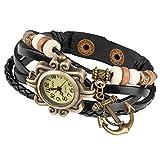 Taffstyle Damen-Armbanduhr Retro Vintage Geflochten Leder-Armband mit Charms Anhänger Analog Quarz Uhr Anker Gold Schwarz