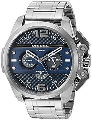 Diesel Advanced - Reloj análogico de cuarzo con correa de acero inoxidable para hombre, color gris/azul
