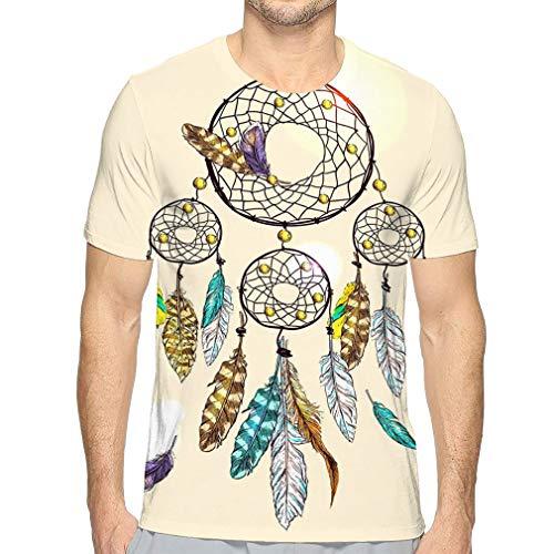 Shiyiqi8 Men's Short Sleeve - Camiseta con diseño de atrapasueños Multicolor M
