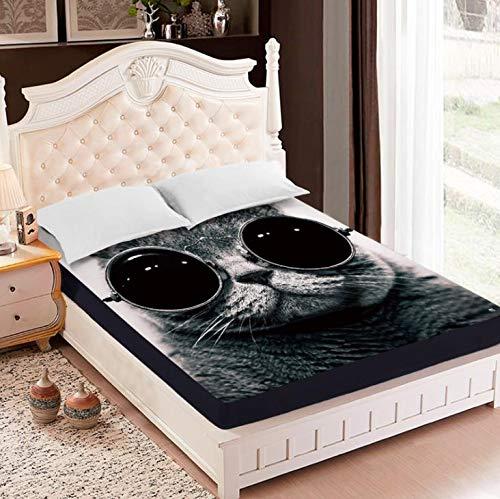 SUYUN Antiallergischer Matratzenbezug mit Reißverschluss, wasserdichter und atmungsaktiver Matratzenbezug,Sonnenbrille Katze Matratzenbezug150 * 200 * 30cm