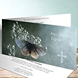 Trauer Danksagungskarte, Schmetterlingsolo 5 Karten, Horizontale Klappkarte 210x100 inkl. weiße Umschläge, Grau