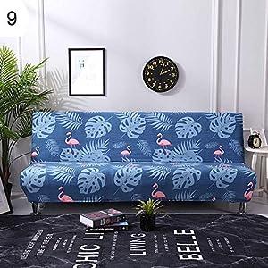 y.ite Sofa-Überzug aus Kunstfedern mit Flamingo-Motiv, elastisch, Armlos, Sofa-Schonbezug, Möbelschutz