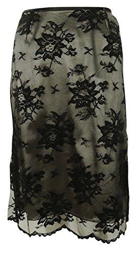 Tahari Women's Alvin Metallic Flecked Lace Overlay Pencil Skirt (2, Black) (Metallic Lace Skirt Pencil)