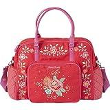 Room Seven Wickeltasche, Tasche RED FLOWERS, rot mit Blumenstickerei, inkl. Wickelunterlage