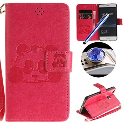 [ Huawei P9 Lite ] Cuir Coque,Huawei P9 Lite Housse de téléphone en Cuir, Etsue Retro Panda Motif Portefeuille en Cuir Flip Couverture de Case avec Lanière et Carte de Visite Dossier Fonction pour Huawei P9 Lite + Cadeaux Gratuit + 1 x Bleu stylet + 1 x Bling poussière plug (couleurs aléatoires)-Rose Red