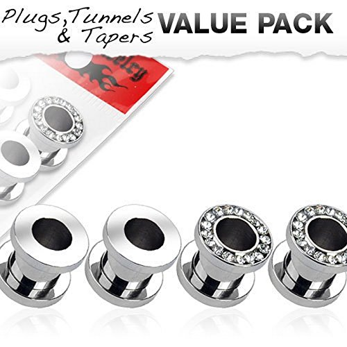Lot de 4 Piercing tunnel plug Taille 10 mm
